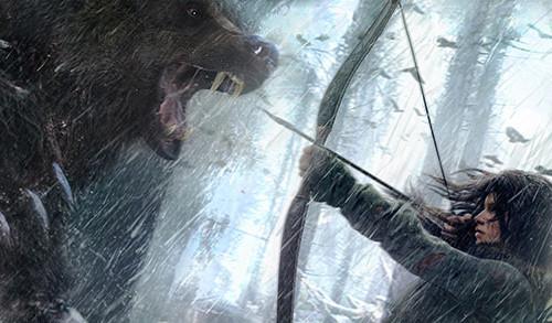 lara croft fighting bear